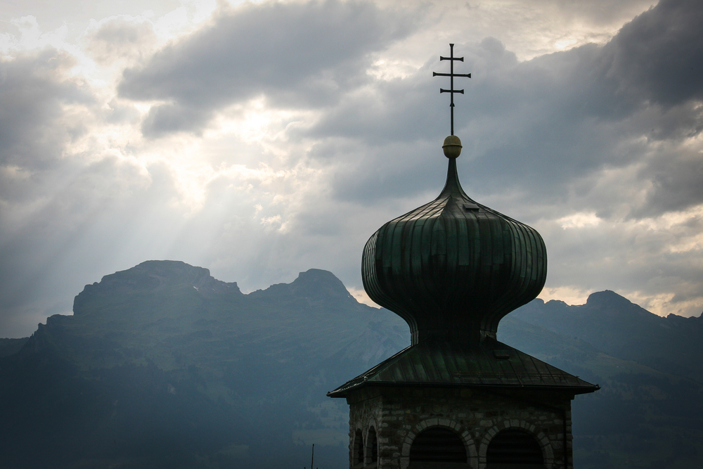 Triesenberg.  St. Josef church's onion dome: Unique in whole Liechtenstein. Switzerland in the far...