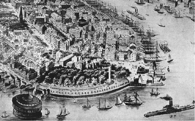 Southern Manhattan, Castle Clinton and Battery Park early 1800's