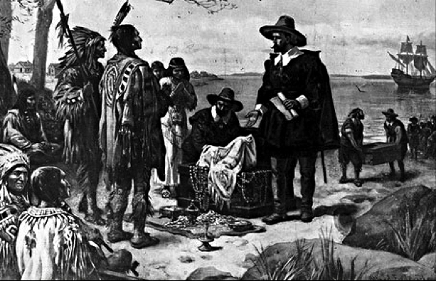 Peter Minuit purchasing Manhattan from the Lanapes around 1625