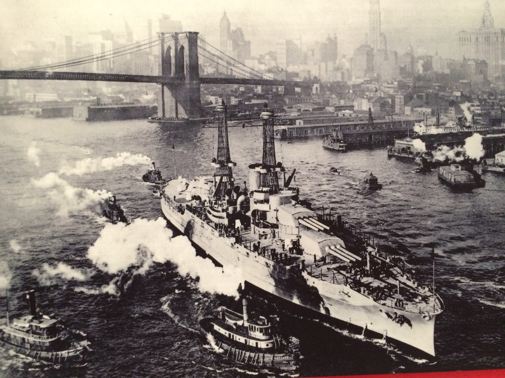 USS Arizona in the East River, named for the recently admitted 48th state, was destroyed in the attack on Pearl Harbor December 7, 1941.