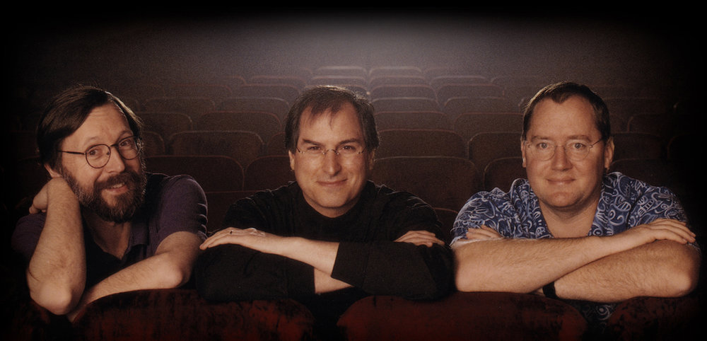 Pixar founders Ed Catmull, Steve Jobs, and John Lasseter. Yes, you read that correctly, Steve Jobs!