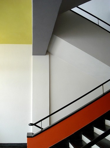 A staircase in the Bauhaus school of design in Dessau, Germany,1932.