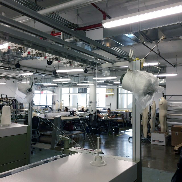 View of Knitting Machinery and Cut and Sew Studio