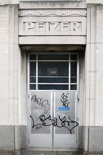 Deco Exterior of Pfizer Building with Graffiti