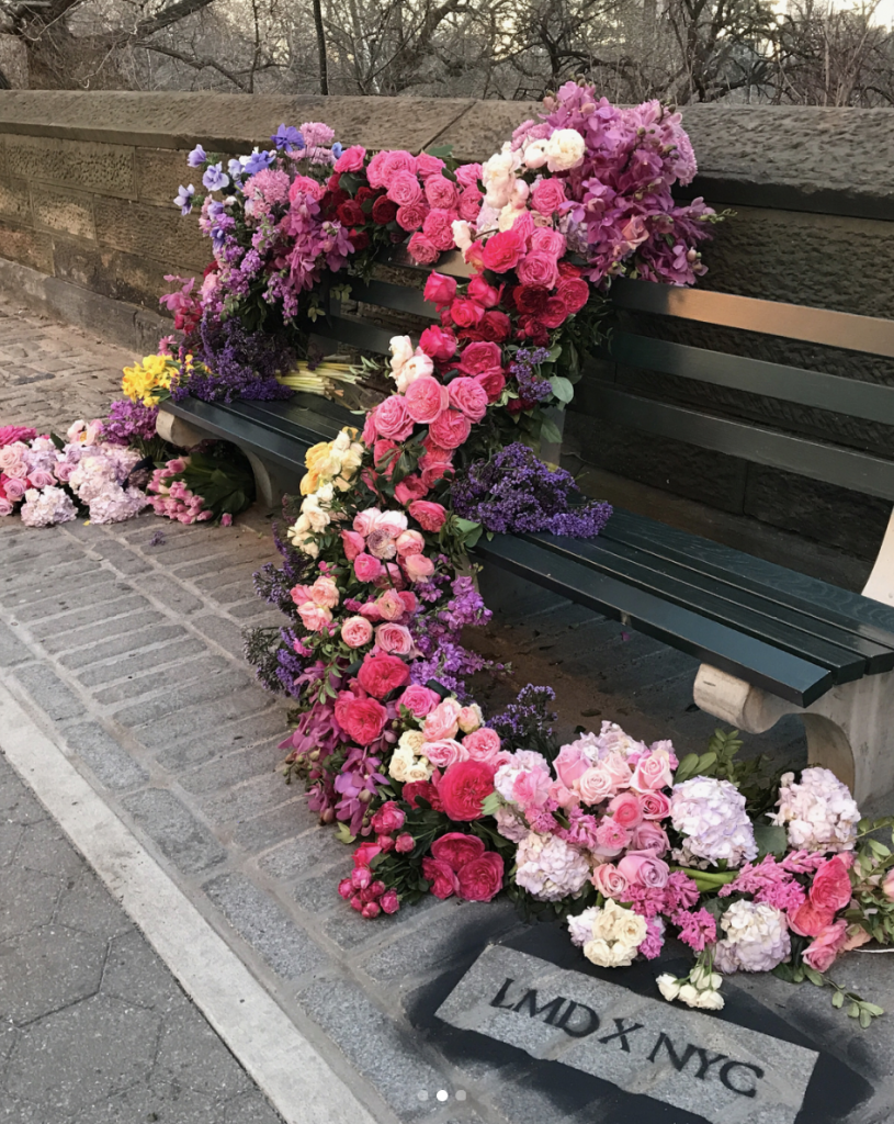 Central Park West: a garland of roses, peonies, hydrangeas, and orchids.
