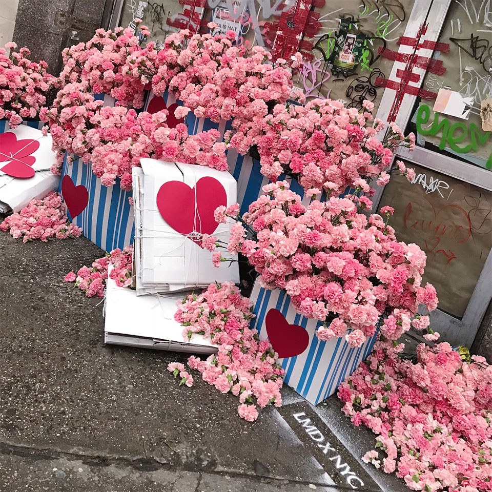 A Valentine's Day display of pink carnations, some of seventeen thousand left over from Tory Burch's recent fashion show.