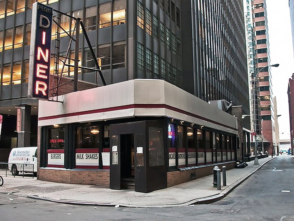 Pearl Diner - Pearl Street & Fletcher Street, Financial DistrictBuilt by the Kullman Dining Car Company 1960Remodeled - Still in operation today.