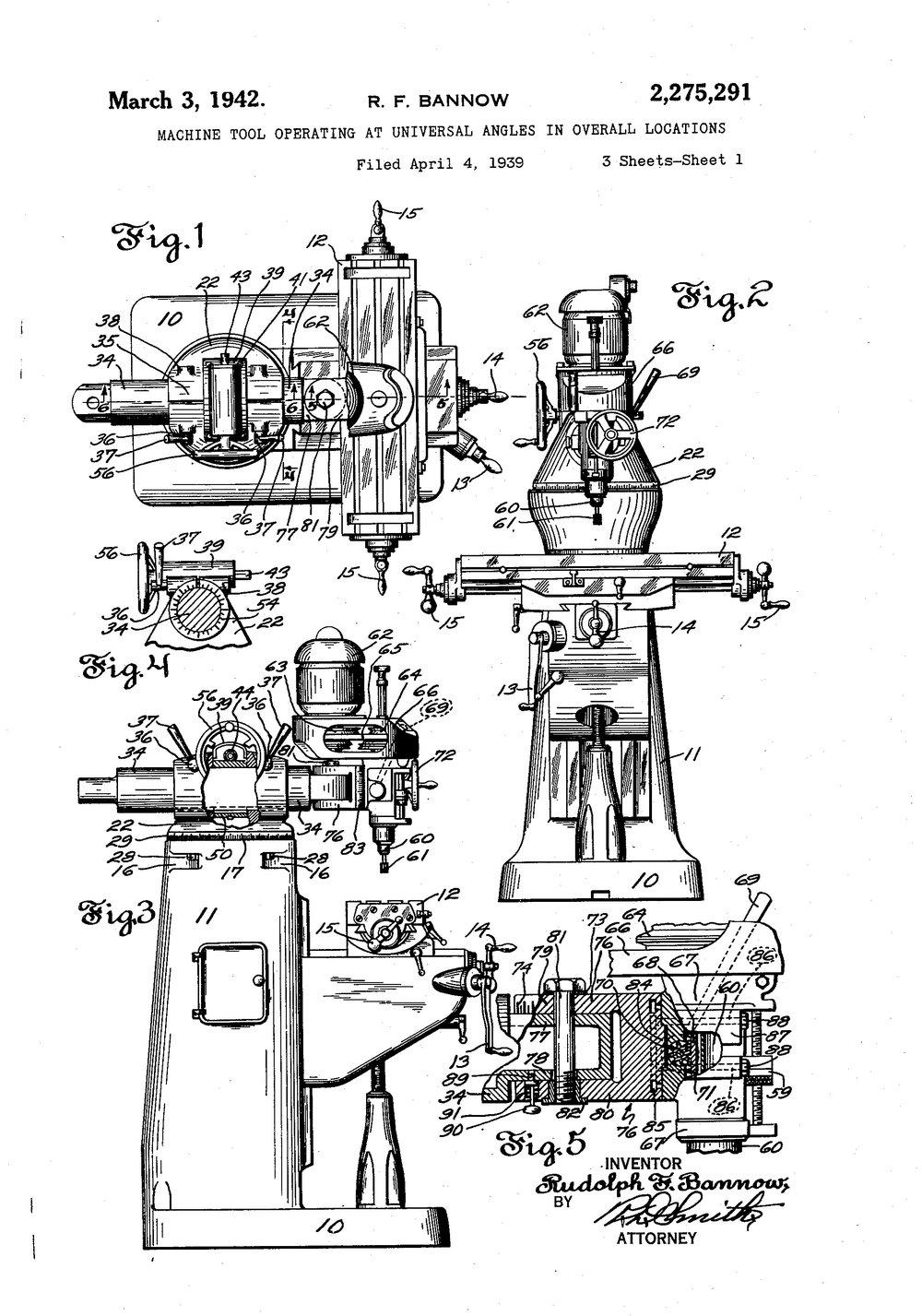 Upright (Bridgeport) Mill Patent Drawing