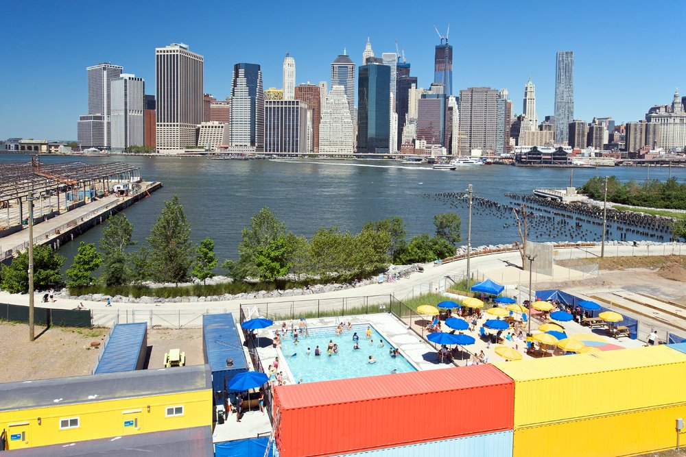 Brooklyn Bridge Park Pop Up Pool: a colorful recreational destination for children and adults.