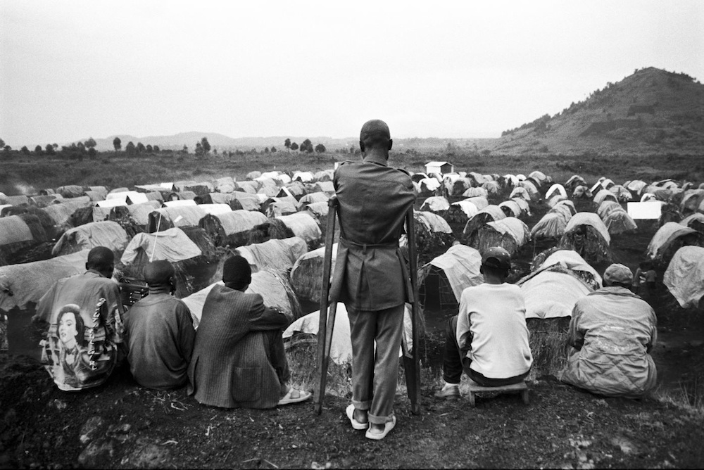 Bulengo IDP camp, Goma, North-Kivu. In 2007, 437.000 people had to flee their villages because of fighting, raping, recruitment of children into armed groups and extortions. The last wave of violence between August and December 2007 in Kivu raises the total number of displaced persons to 800,000 as a result of the battle between 25,000 men of the FARDC (Armed Forces of the Democratic Republic of Congo) and 4,000 rebels of the general Laurent Nkunda, making it a humanitarian crisis as important as in Darfur. 2007.  Inquire about this image
