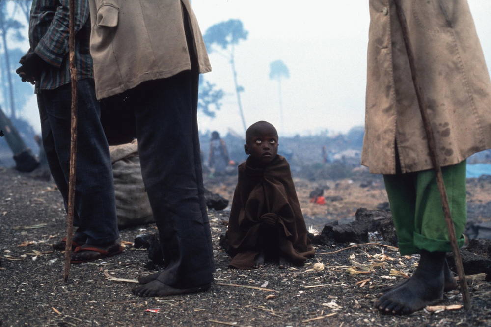 Rwandan Hutu refugees at a camp. Thousands of Hutus died of a cholera epidemic after escaping Rwanda where they were responsible for the killing of almost one million Tutsis.  Zaire, 1994   Inquire about this image