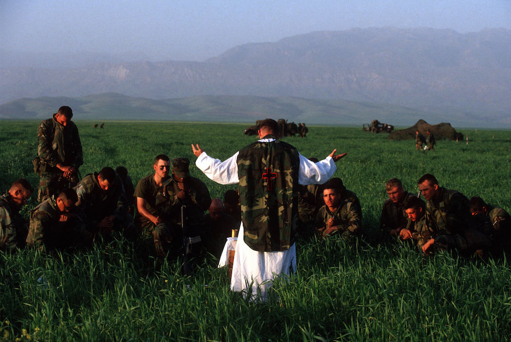 U.S. Soldiers hold a prayer service in Northern Iraq. 1991.  Inquire about this image