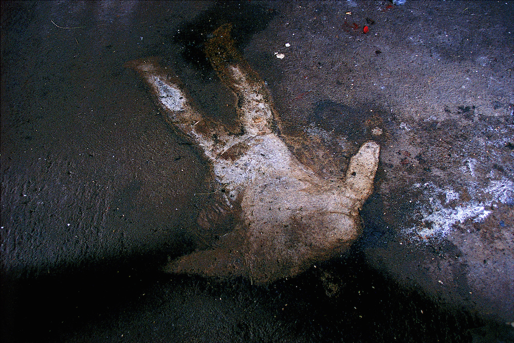 The remains of a Kosovar Albanian burnt in his home during the war in Kosovo with the Serbs. Kosovo, 1999  Inquire about this image