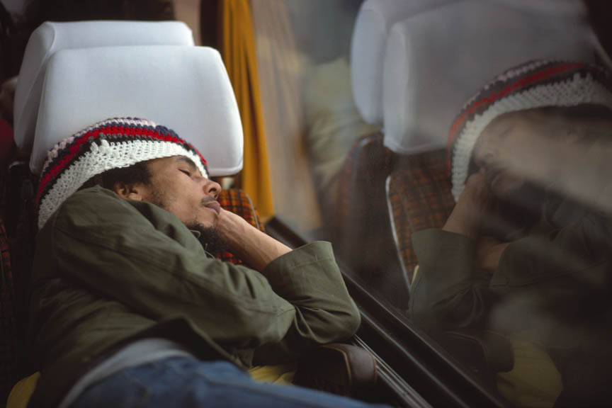 Bob Marley and The Wailers on their tour bus during their Exodus Tour in Europe. May 11, 1977.  Inquire about this image