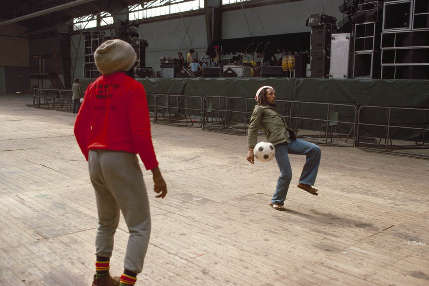 Bob Marley and the Wailers play improvised soccer at the stadium in Brussels #1, during the Exodus Tour, Belgium, May 1977.  Inquire about this image