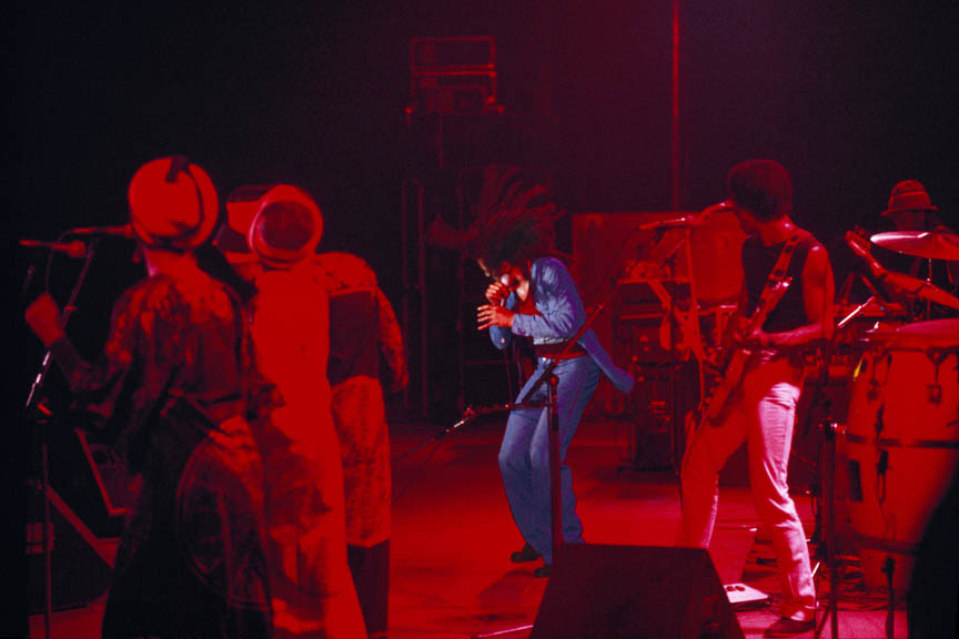 Jammin! The I Threes, Bob Marley and Junior Marvin, Exodus Tour, Paris, France, May 1977.  Inquire about this image