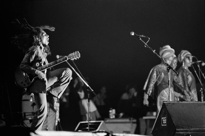 Natural Mystic, Bob Marley and The Wailers in Paris, France on their Exodus Tour in Europe, May 10 1977.  Inquire about this image