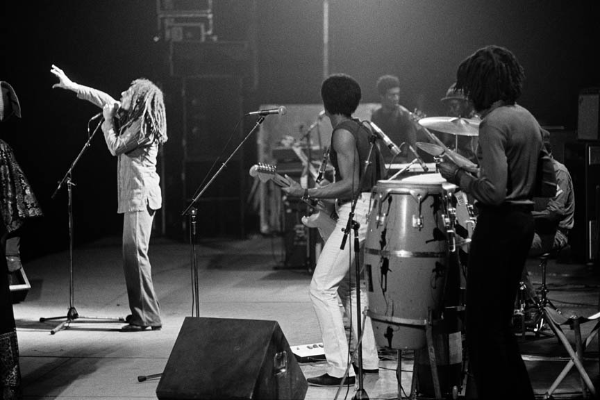 Get up, Stand up, Bob Marley and The Wailers in Paris, France on their Exodus Tour in Europe, May 10 1977.  Inquire about this image