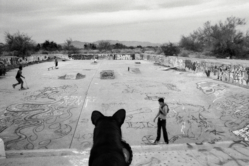 The old US Navy pool is used for skateboarding by local youngsters in Slab City, CA. Once a thriving tourist destination, as the Salton Sea dried up and became polluted, residents fled, and tourists didn't return, leaving the area inhabited by many living on the fringe of society.  Inquire about this image