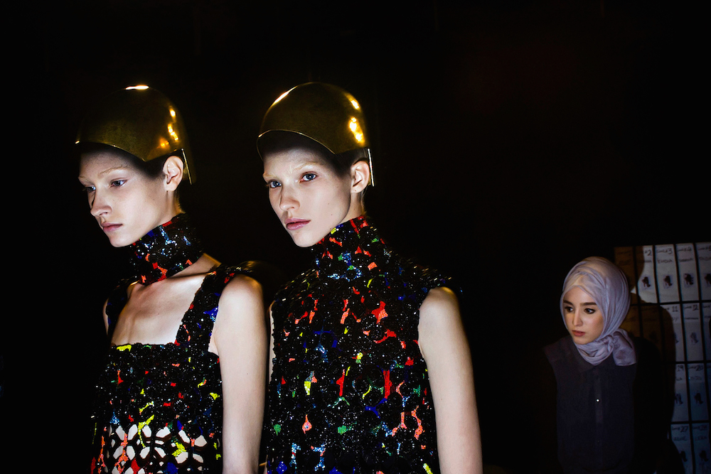 Backstage at the Alexander McQueen fashion show. Paris Fashion Week, Spring 2014.  Inquire about this image
