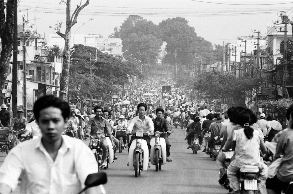 "Traffic congestion is a new phenomenon for Saigon, which has been dubbed ""Scooter City."" 1994.    Inquire about this image"