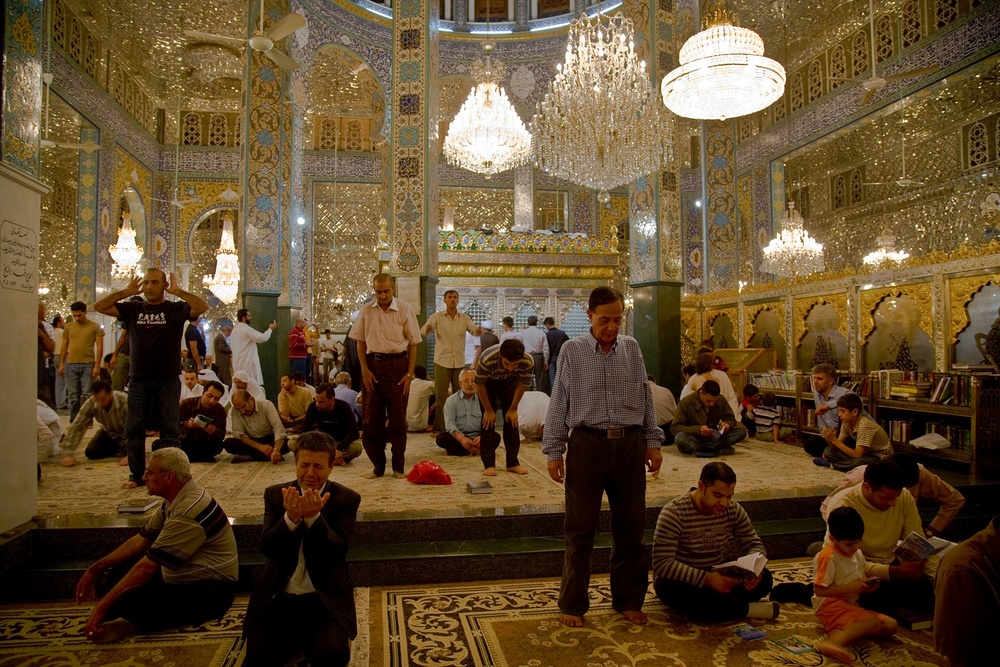 The ornate Sayyida Zaynab Mosque in Damascus attracts Shia worshippers from all over the world. Syria, May 2008.   Inquire about this image