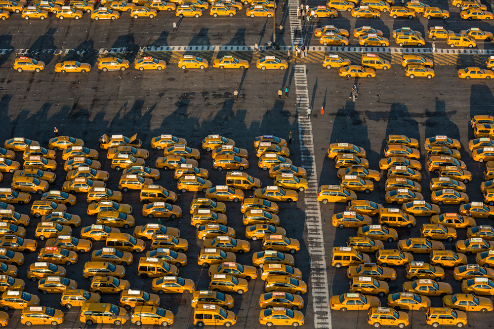 Taxi waiting area at JFK airport in New York City on a spring morning. May 2014.  Inquire about this image
