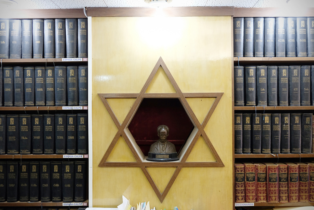 A statue of the late Jose Marti inside the main office of the Beth Shalom temple.   Inquire about this image