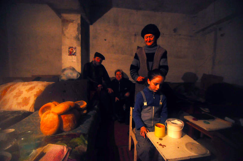 February 6, 2015, Debaltseve, Donbass Oblast, Ukraine. A family has taken refuge in an underground bunker as their area is constantly shelled by separatists forces.