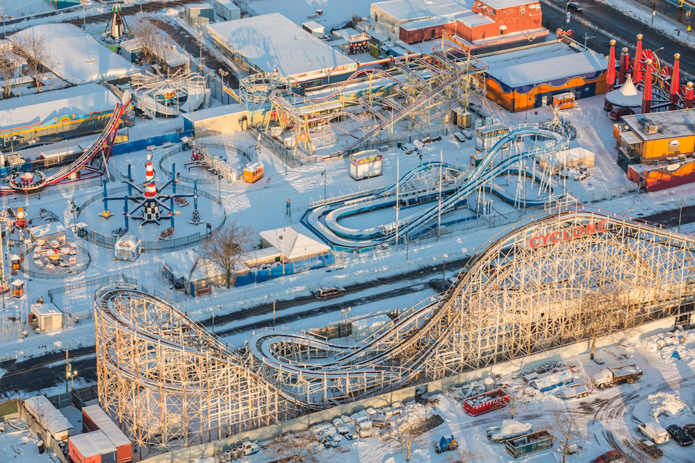 Coney Island's Luna Park hibernates under a soft blanket of snow. February 2014.  Inquire about this image
