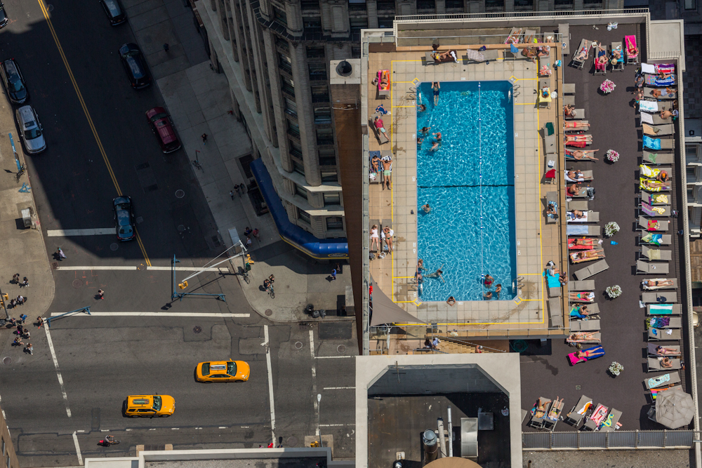 Rooftop pool at the 300 Mercer Street  Building in early summer afternoon in New York City. July 2014.   Inquire about this image