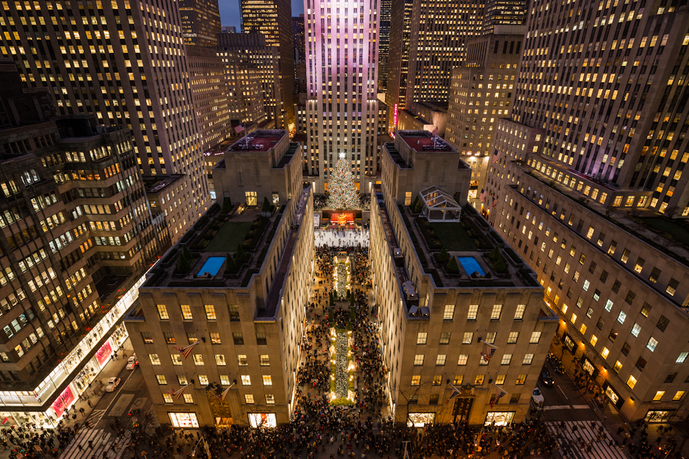 Rockefeller Center on a busy shopping day a week before Christmas, as seen from the roof of Saks Fifth Avenue. December 2014.   Inquire about this image