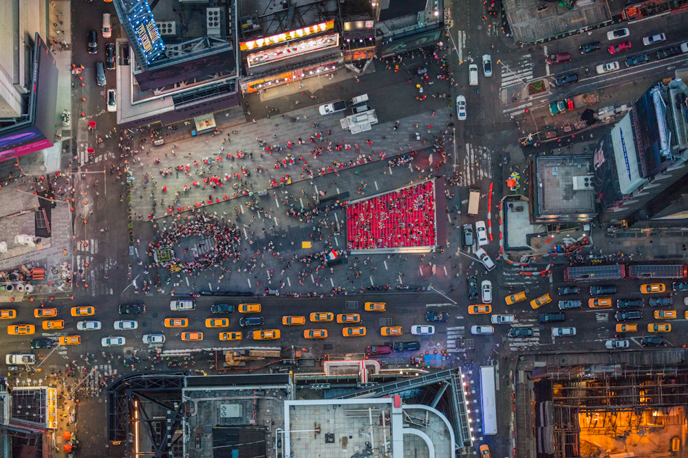 Looking down on Times Square in NYC on a summer evening. July 2014.   Inquire about this image