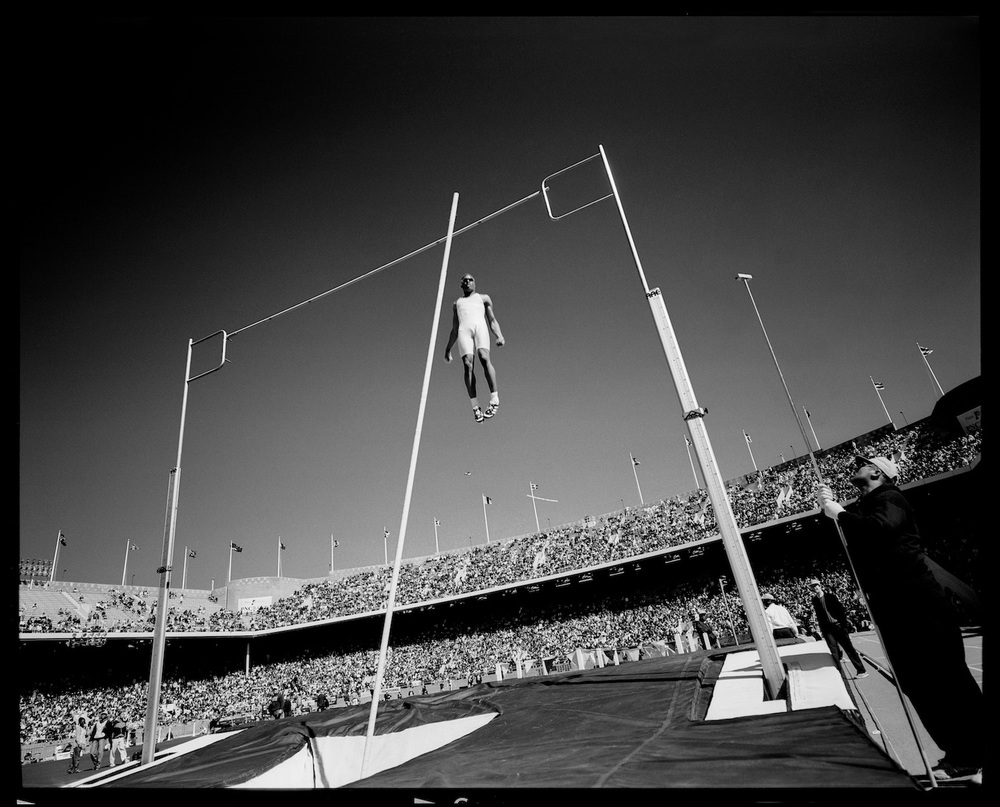 Men's Pole Vault. Philadelphia, Pennsylvania, USA, April 1996.  Inquire about this image