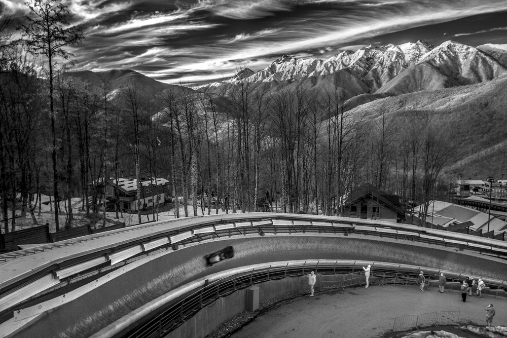 Bobsled. Sanski Sliding Center, Alpika Service, Russia, February 2014.  Inquire about this image