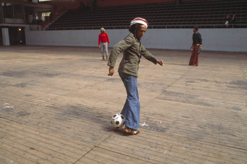 Bob Marley and the Wailers play improvised soccer at the stadium in Brussels #2, during the Exodus Tour, Belgium, May 1977.  Inquire about this image