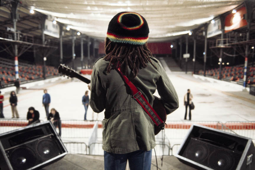 Sound Check, Exodus Tour, Paris, France, May 10, 1977.  Inquire about this image