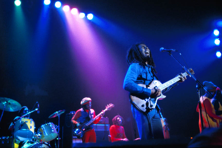 Bob Marley and The Wailers in Brussels, Belgium, on their Exodus Tour in Europe, May 11 1977.  Inquire about this image