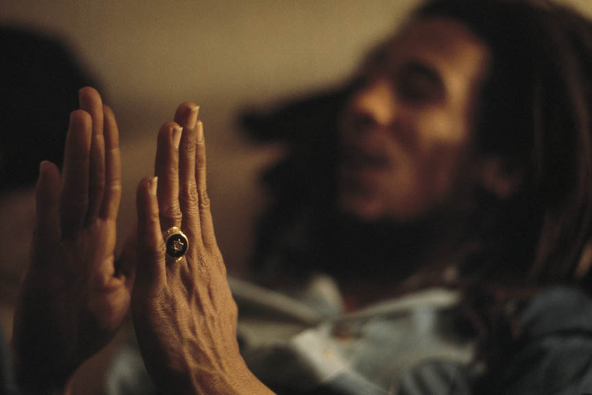Star of David, Bob Marley at home (Tuff Gong) in Kingston, Jamaica, March 1976.  Inquire about this image