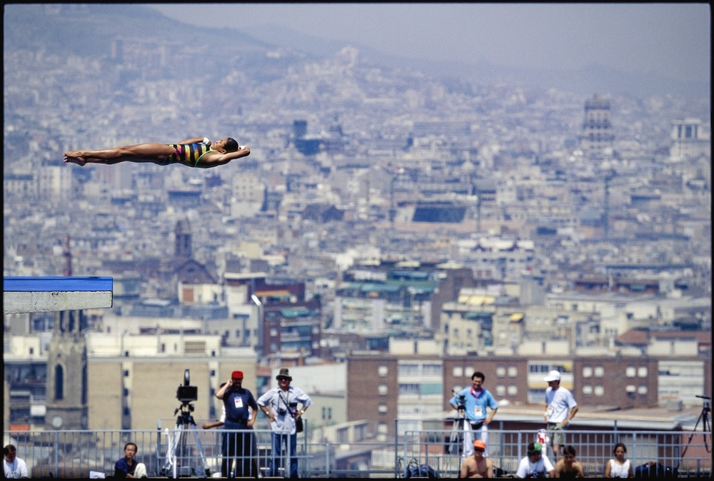 Women's Platform Diving. Barcelona, Spain, August 1992.  Inquire about this image