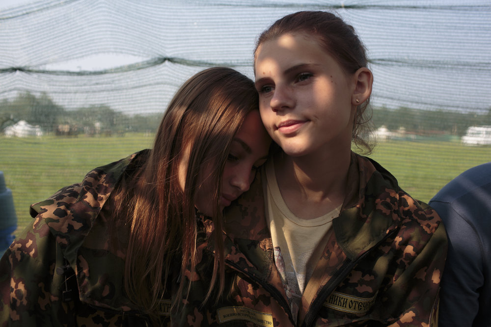 Nastya Gobritskaya (L, 15) from Moscow and Alina Klikova (R, 16) from Medin at Военно-Исторический Лагерь Бородино 2016, the Historical-War Camp in Borodino, Russia.  Inquire about this image