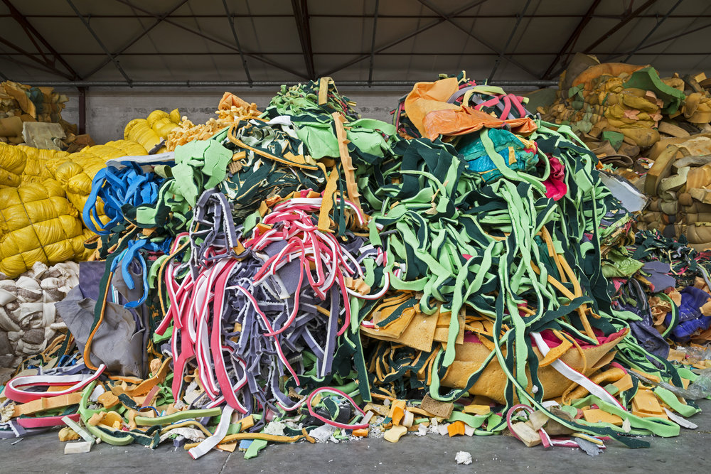 Industrial polyurethane residues and fleece trim will be shredded for reuse in everything from protective packaging to acoustic insulation, dairy mats, and shock pads.  Inquire about this image