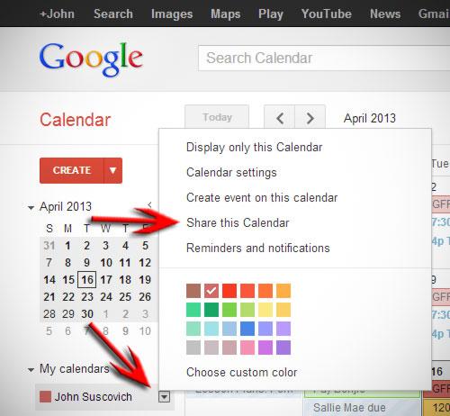 sharing google calendar