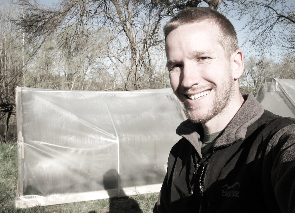 Me with my make-shift little greenhouse.