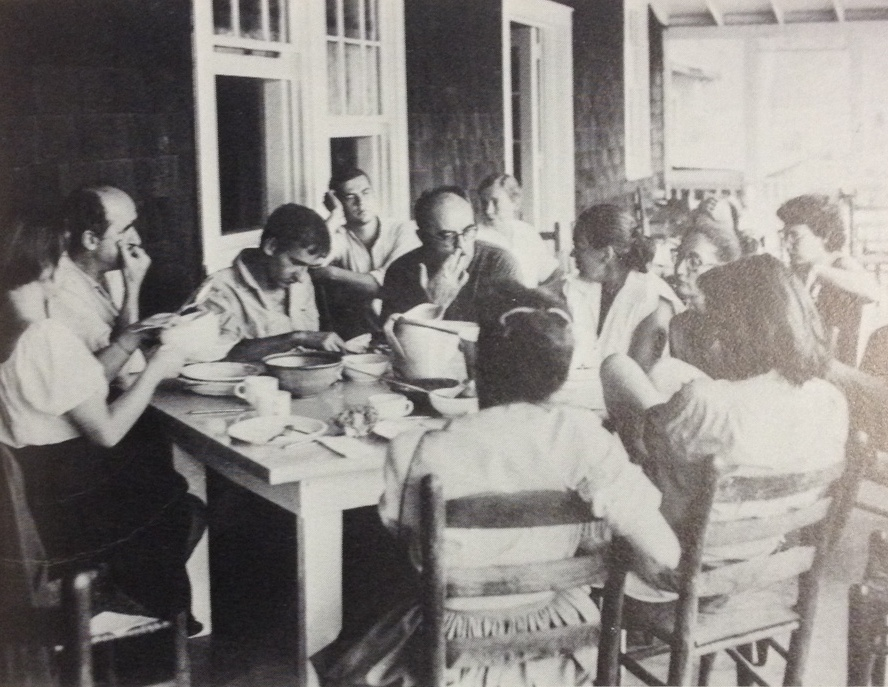 Poet Charles Olson and others having a lunchtime discussion, early 1950s. Image courtesy of the Western Regional Archives.