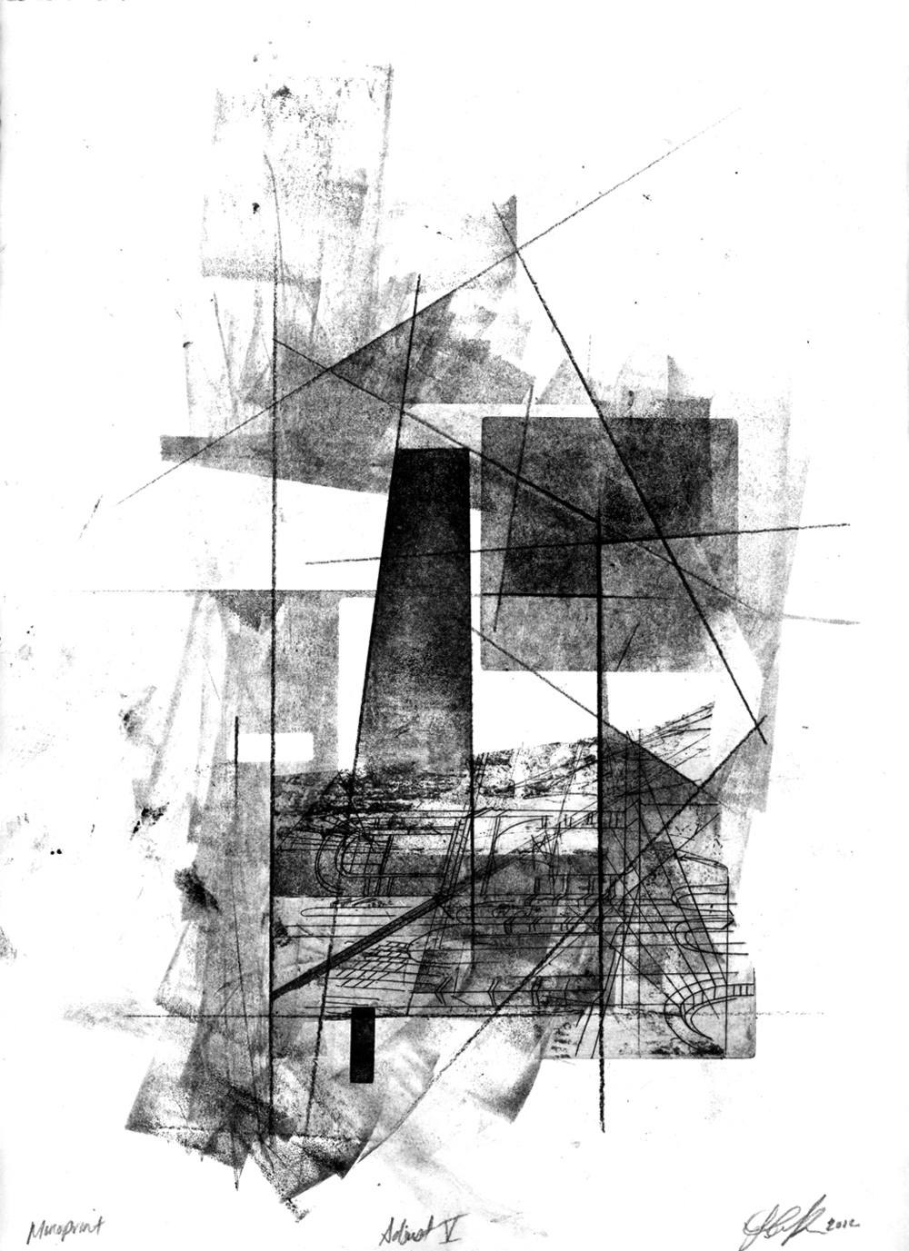 Adjust V, 2012, intaglio, relief and drawing on paper, 11 x 15in
