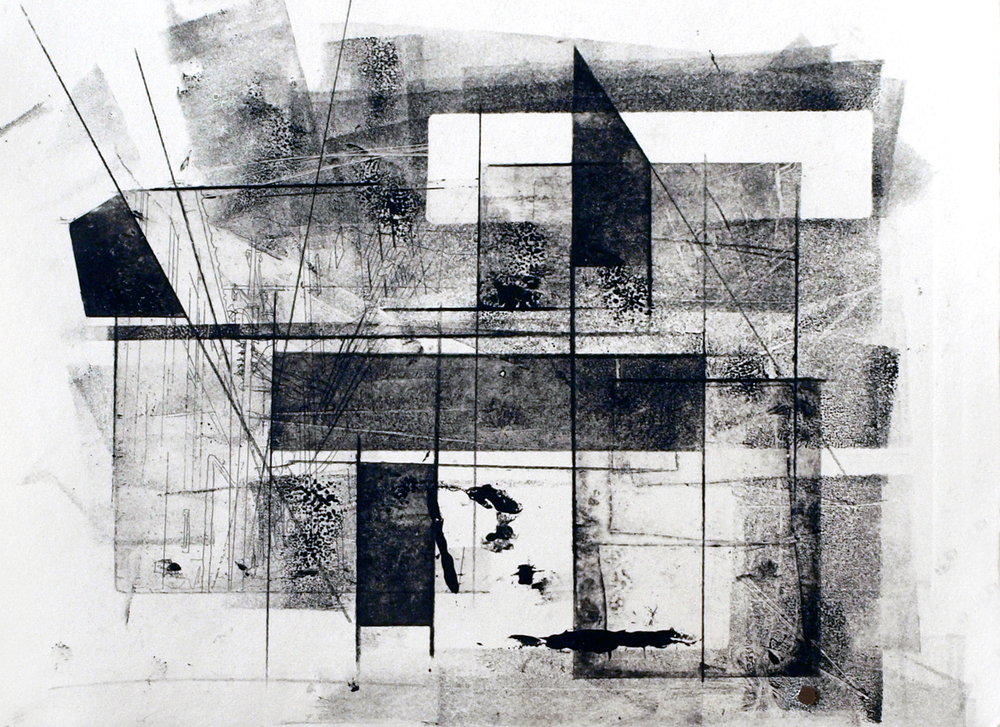 Adjust XIV, 2012, intaglio, relief and drawing on paper, 11 x 15in