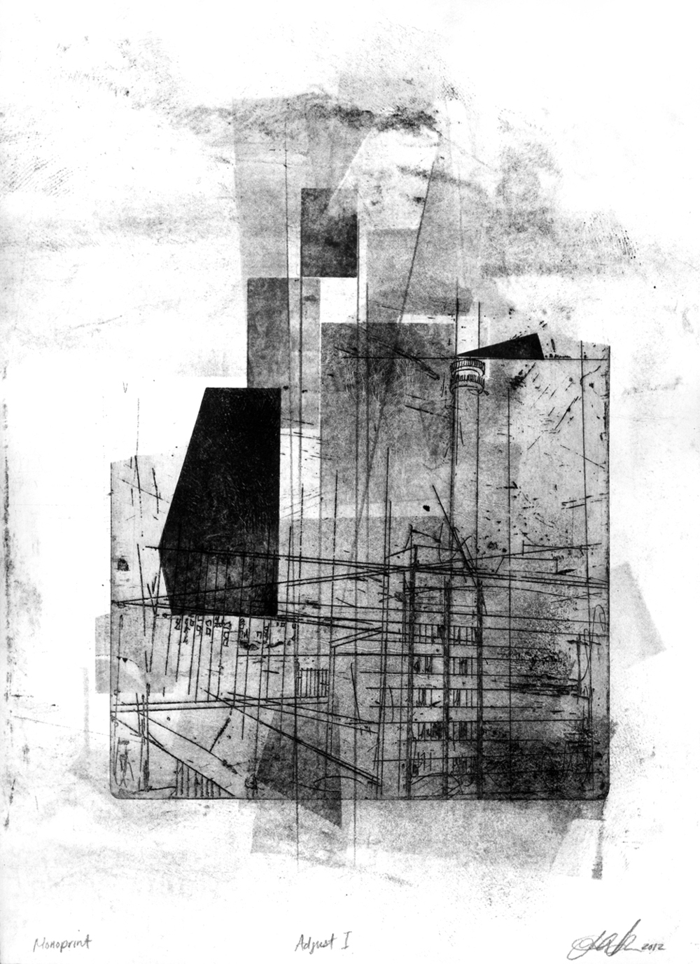 Adjust I, 2012, intaglio, relief and drawing on paper, 11 x 15in