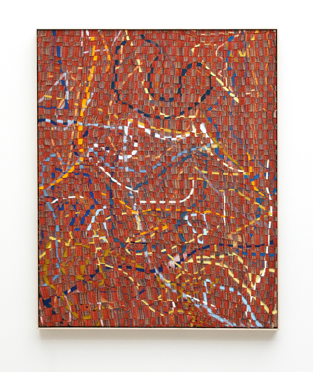 Untitled (A Walk in the Garden), 2013, deconstructed, hand-painted, woven, cut, folded and plaited canvas, red fir, acrylic, and frame, 55 x 45in