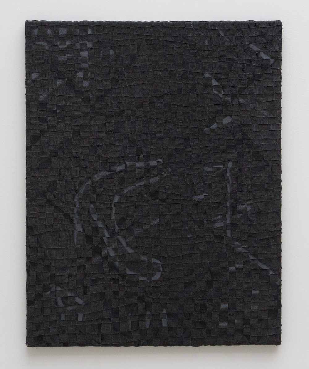 Untitled, 2013, deconstructed, hand-painted, woven, cut, folded and plaited canvas, red fir, acrylic and charcoal, 53.5 x 42.5in